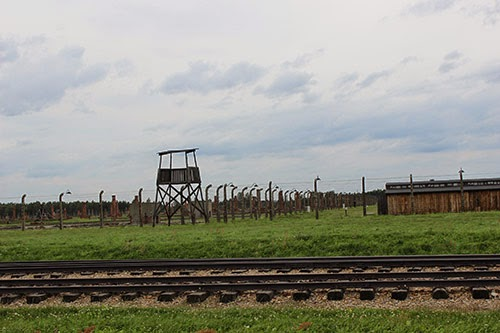 Remains of wooden dormatories (men's) in Birkenau. The things sticking up on the left are brick chimneys. The building on the right is what these used to look like. When the camp was liberated, soldiers tore down the wood for fuel to heat barracks where prisoners were treated. Cuz Poland's cold.
