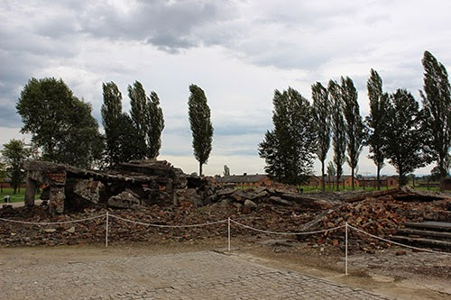 Remains of gas chamber (destroyed by Nazis before liberation).